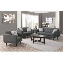 Stansall Mid-century Modern Grey Three-piece Living Room Set
