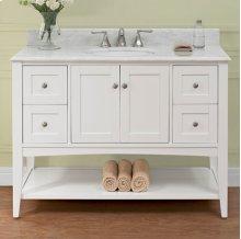 """Shaker Americana 48"""" Open Shelf Vanity - Polar White"""