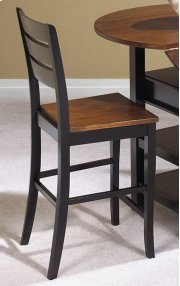 """Sunset Trading 24"""" Quincy Stool in Black with Cherry Finish Seat - Sunset Trading Product Image"""