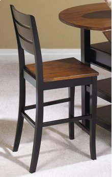 "Sunset Trading 24"" Quincy Stool in Black with Cherry Finish Seat - Sunset Trading"