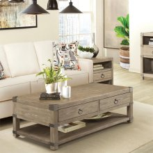 Myra - Caster Coffee Table - Natural Finish
