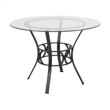 Carlisle 42'' Round Glass Dining Table with Black Metal Frame