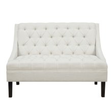Scoop Arm Tufted Entryway Bench in Powder White