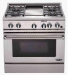 "Brushed Stainless Steel 36"" Prof. Dual Fuel Range Product Image"