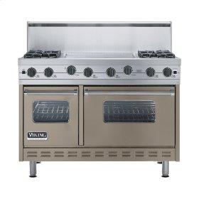 """Stone Gray 48"""" Sealed Burner Range - VGIC (48"""" wide, four burners 24"""" wide griddle/simmer plate)"""
