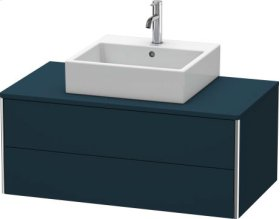 Vanity Unit For Console Wall-mounted, Night Blue Satin Matt Lacquer