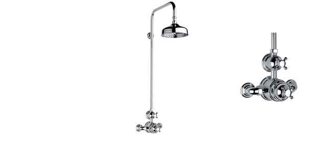 """Non-lacquered Brass Fairfield Exposed 3/4"""" Thermostatic Shower Set"""