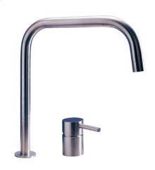 Solid stainless steel two hole mixer with square rotating spout.