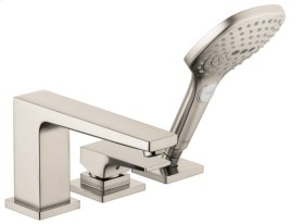 Brushed Nickel Metropol 3-Hole Roman Tub Set Trim with Lever Handle, 2.0 GPM