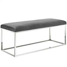 Anticipate Velvet Bench in Gray