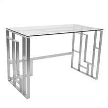 Mandarin Desk - Brushed Stainless Steel, Clear Glass
