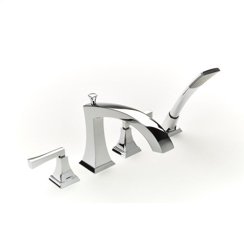Roman Tub Faucet With Hand Shower Leyden Series 14 Polished Chrome