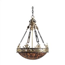 FINELY CAST BRASS, IRON AND PE NSHELL EMPIRE CHANDELIER