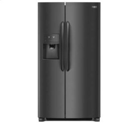 Frigidaire 4pc. Black Stainless Steel kitchen package with 22.2 cu.ft. counter depth dispensing Side-by-Side fridge