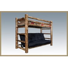 Glacier Country Log Twin Bunk Bed Over Full Futon