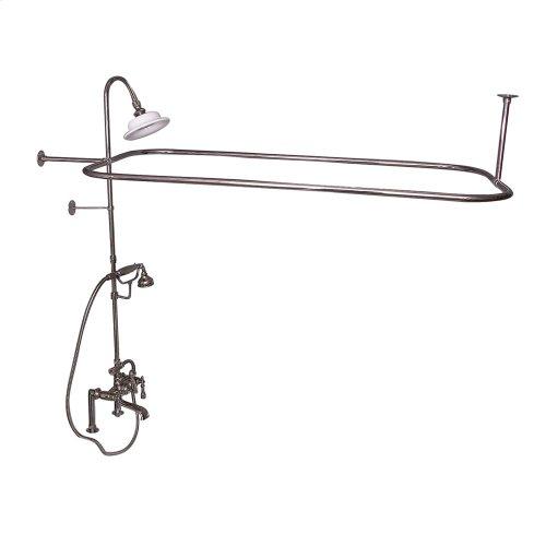 Rectangular Shower Unit - Metal Lever 2 Handles - Polished Nickel