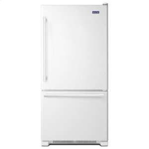 Maytag(R) 33-Inch Wide Bottom Mount Refrigerator - 22 Cu. Ft. - White-on-White - WHITE-ON-WHITE