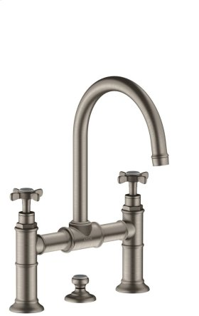 Stainless Steel Optic 2-handle basin mixer 220 with cross handles and pop-up waste set