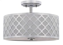 Kora Quatrefoil 3 Light 15-inch Dia Chrome Flush Mount - Chrome Shade Color: Off-White