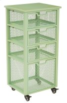 Clayton 4 Drawer Rolling Cart In Green Metal Finish Frame, Fully Assembled. Product Image