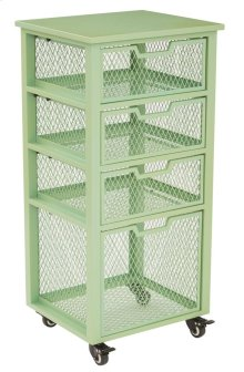 Clayton 4 Drawer Rolling Cart In Green Metal Finish Frame, Fully Assembled.