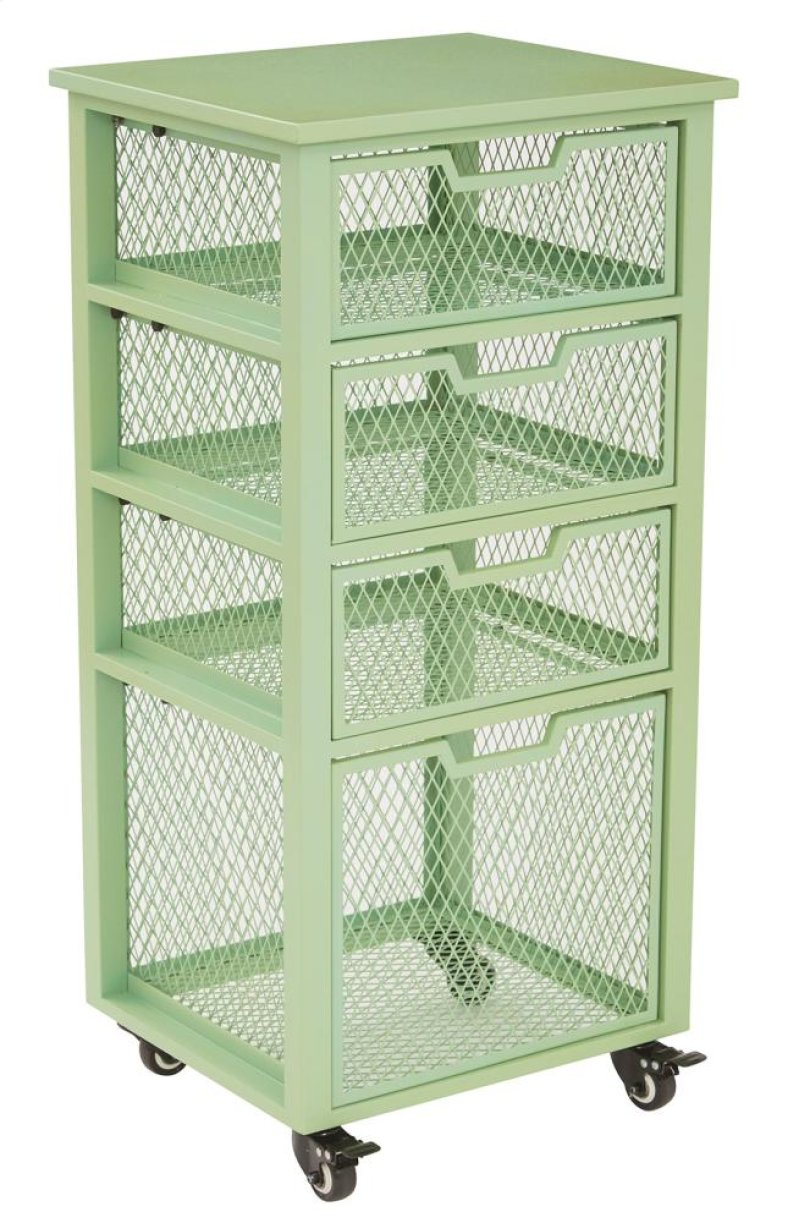Clayton 4 drawer rolling cart in green metal finish frame fully assembled hidden