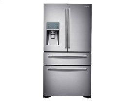 Samsung 4pc. Stainless Steel kitchen package with 24 cu ft. counter depth 4-Door fridge and slide-in convection gas range