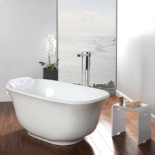 Free-standing soaking bathtub made of luster white acrylic with an overflow and polished chrome drain, net weight 84 lbs, water capacity 58 gal.