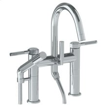 Deck Mounted Exposed Gooseneck Bath Set With Hand Shower