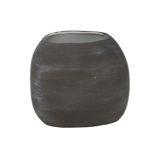 "Weathered Matte Brown Vase 7.25"""