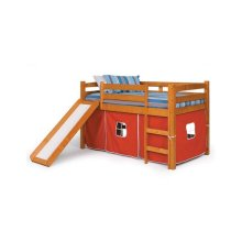 Pine Ridge Tent Bed with Slide with options: Honey Pine, Red