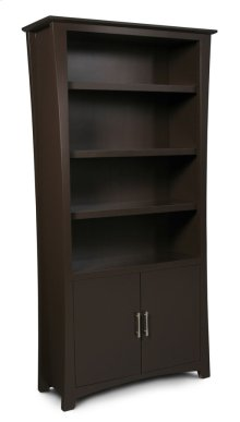 Loft Bookcase, Wood Doors on Bottom, Loft Bookcase, Wood Doors on Bottom, 4-Adjustable Shelves