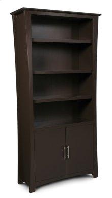 Loft Bookcase, Wood Doors on Bottom, Loft Bookcase, Wood Doors on Bottom, 3-Adjustable Shelves