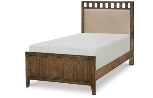 Sawyers Mill Complete Upholstered Slat Bed, Twin 3/3