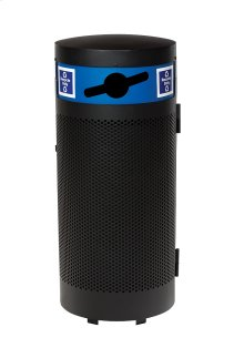 District Round Waste Receptacle with Door and Recycling Hood, Round Pattern