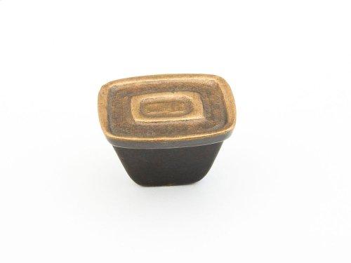 """Cast Bronze, Ovale, Rectangular Knob, 1-1/4"""" diameter, Antique Bronze finish"""