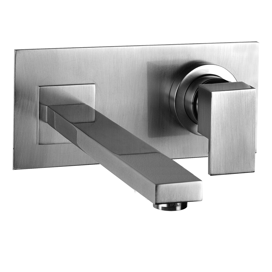 """TRIM PARTS ONLY Wall-mounted washbasin mixer trim Spout projection 7-7/8"""" Drain not included - See DRAINS section Requires in-wall rough valve 26697 Max flow rate 1"""