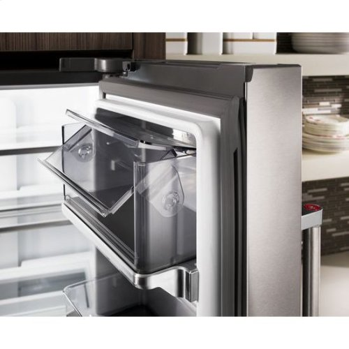 "KitchenAid® 23.8 cu. ft. 36"" Counter-Depth French Door Platinum Interior Refrigerator with PrintShield™ Finish - PrintShield Stainless"