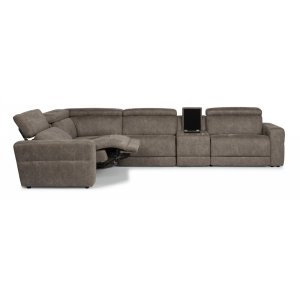 Sonic Fabric Sectional with Power Headrests