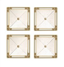 SET OF FOUR SQUARE MIRRORS, AN TIQUED MIRROR GLASS,GOLD LEAF, AND MIRRORED SIDE PANELS