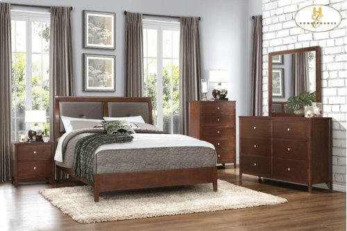 HOMELEGANCE 1855-1-9 Cullen Queen Sleigh Bed, Dresser, Mirror, Night Stand & Chest Group