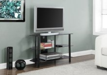 "TV STAND - 36""L / BLACK METAL WITH TEMPERED BLACK GLASS"