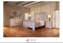 Terra Wntique White King Bedroom Set: King Bed, Nightstand, Dresser & Mirror