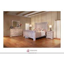 Terra Wntique White King Bedroom Set: King Bed, Nightstand, Dresser & Mirror