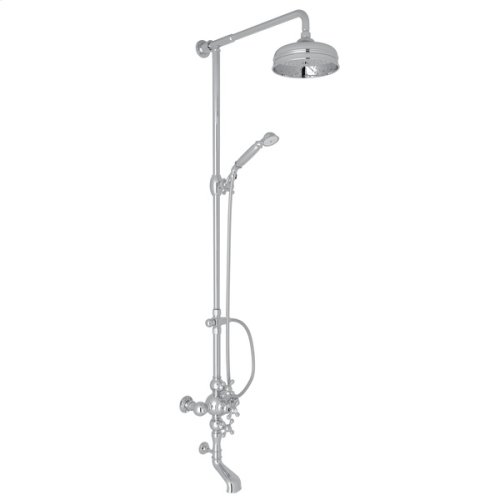 Polished Chrome Arcana Exposed Wall Mount Thermostatic Tub/Shower With Volume Control with Arcana Series Only Cross Handle