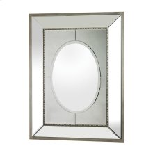 LARGE MIRROR SET IN A HEAVY MIRRORED FRAME