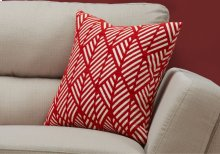 "PILLOW - 18""X 18"" / RED GEOMETRIC DESIGN / 1PC"