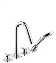 Chrome 4-hole tile mounted bath mixer with star handles and escutcheons