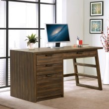 Perspectives - Single Pedestal Desk - Brushed Acacia Finish