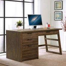 Perspectives - Single Pedestal Desk - Brushed Acacia Finish